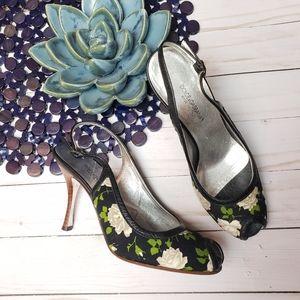Dolce & Gabbana Black Floral Peeptoe Slingbacks